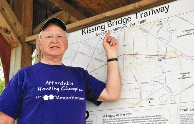 MennoHomes president Martin Buhr prepares to head out on the Kissing Bridge Trailway.[will sloan / the observer]