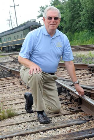 Southern Ontario Locomotive Restoration Society president Ross White, seen here at the  St. Jacobs workshop, worries about what the region's LRT plans will mean for the organization.[Elena Maystruk / the observer]