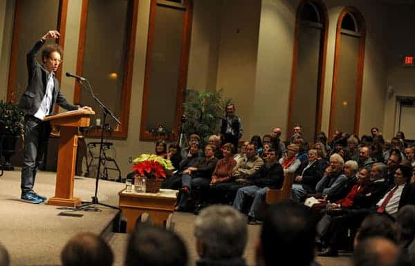 Author Malcolm Gladwell was at Floradale Mennonite Church on Wednesday night to discuss his latest book, David and Goliath: Underdogs, Misfits: and the Art of Battling Giants. [Elena Maystruk / The Observer]