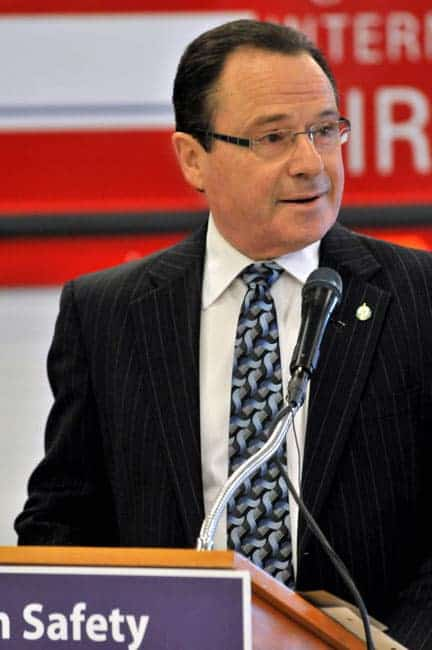 MP Harold Albrecht announces grant at the airport Thursday. [Will Sloan / The Observer]