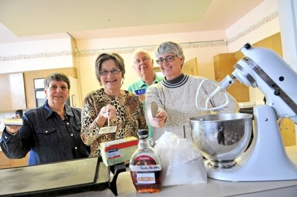 Members of Trinity United in Elmira were gearing up this week for a Sunday pancake lunch in the church kitchen to celebrate Shove Tuesday (March 4).  Among those ready for the feast before Lent are Linda Hastings, Barb Taylor, Bill Cummings and Susan Beinarovics. [Elena Maystruk / The Observer]