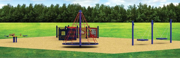 Renderings of what an accessible playground may look like, including accessible swings and rubber matting, by Recreation Playsystems of St. Clements. [submitted]