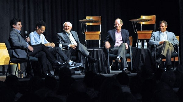 Former teacher Bill Exley (middle) shares a laugh with former students Bruce Headlam, Malcolm Gladwell, Roger Martin and Terry Martin during the alumni roundtable at EDSS on June 7, part of the school's anniversary celebration.[Scott Barber / The Observer]