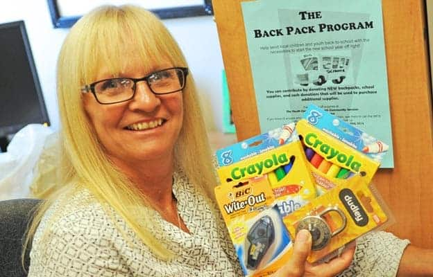 Kelly Christie is gathering new school supplies and cash donations at Woolwich Community Services for the annual backpack program.[Whitney Neilson / The Observer]