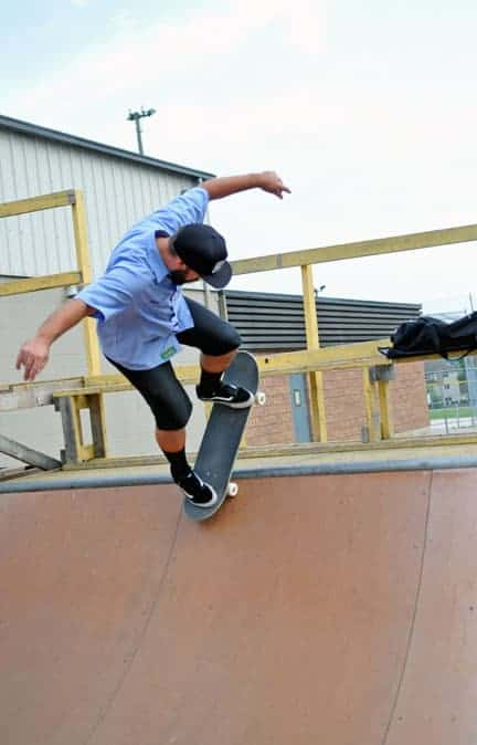 Dave Ingraham helped build the mini-pipe in front of the Wellesley arena, site of a temporary skate park. The township is looking at options for a permanent home for the facility. [Scott Barber / The Observer]